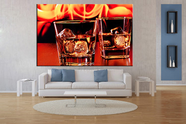 living room wall art,1 piece wall art, wine multi panel art, wine orange large pictures, wine glass photo canvas