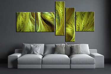 5 piece large pictures, living room multi panel art, green modern photo canvas, modern artwork