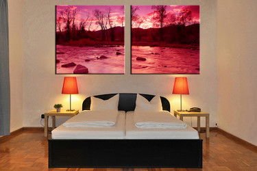 2 piece canvas print, bedroom canvas wall art, red pictures, scenery canvas photography, scenery art