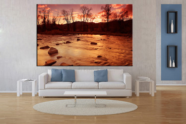 1 piece wall art, living room art, brown scenery multi panel art, river canvas print, scenery huge pictures