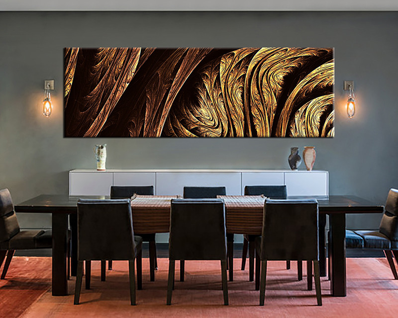 1 Piece Canvas Yellow Brown Black,Abstract Modern Wall Decor