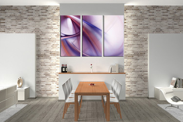 3 piece large pictures, dining room wall decor, purple modern group canvas, modern artwork