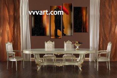4 piece large pictures, dining room wall decor, modern group canvas, modern red artwork, modern wall art