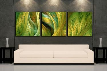 living room wall art,3 piece wall art, green modern multi panel art, modern  large pictures, modern photo canvas
