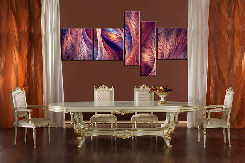 Superbe 5 Piece Canvas Prints,Purple Brown Canvas Modern Wall Art,abstract