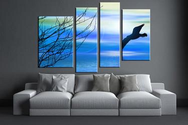 4 piece large pictures, living room multi panel art, animal photo canvas, wildlife artwork