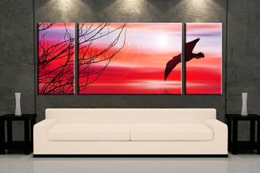 3 piece canvas wall art, living room huge canvas print, red wildlife photo canvas, wildlife large pictures