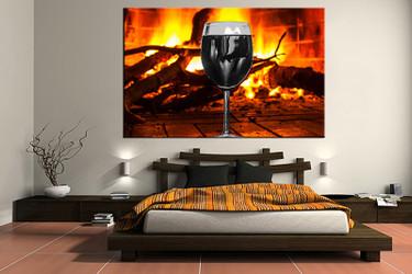 1 piece canvas art print, bedroom art, wine multi panel art, orange huge pictures