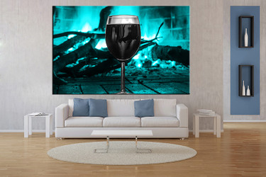 1 piece large pictures, living room multi panel art, blue wine photo canvas, fireplace artwork