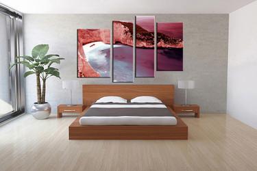 4 piece canvas wall art, bedroom ocean artwork, landscape pictures, red canvas print, landscape artwork