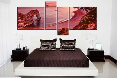 4 piece canvas wall art, bedroom landscape artwork, landscape pictures, red canvas print, landscape artwork