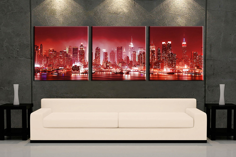 living room wall art,3 piece wall art, red city multi panel art, city  large pictures, city photo canvas