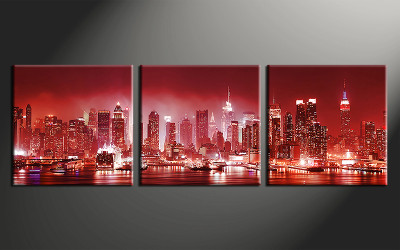 3 piece canvas print, home decor artwork, cityscape photo canvas, city canvas photography, red city art