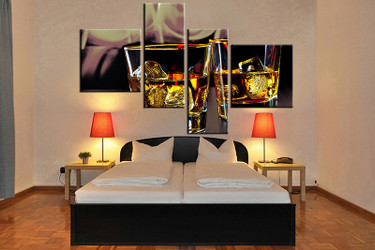 4 piece canvas art print, bedroom wall art, wine yellow canvas photography, wine artwork, wine art