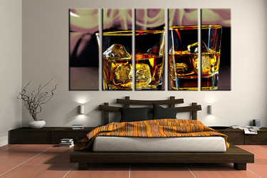 5 piece canvas print, bedroom canvas photography, wine yellow pictures, wine canvas art print, wine wall art