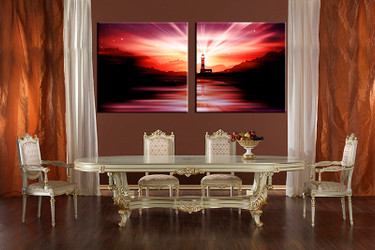 2 piece multi panel canvas, dining room canvas photography, red city wall art, light house artwork