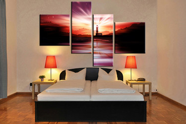 4 piece canvas art print, bedroom art, red city multi panel art, city huge pictures, city artwork