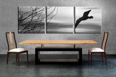3 piece canvas wall art, wildlife canvas print, blue wildlife art, dining room canvas photography