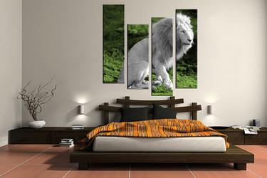 4 piece large pictures, wildlife white lion art, bedroom multi panel art, wildlife photo canvas, wildlife artwork