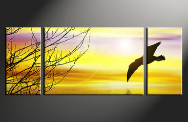 3 piece photo canvas, home decor artwork, bird yellow multi panel canvas, wildlife canvas photography