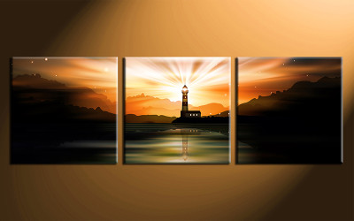 home decor, 3 piece canvas print, city wall art, light house canvas photography, orange city huge pictures
