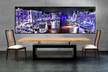 1 piece large canvas, dining room wall art, blue city pictures, city canvas photography