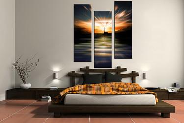 3 piece canvas wall art, city wall art, orange city multi panel canvas, light house artwork