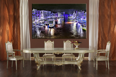 1 piece large pictures, dining room wall decor, blue city group canvas, city artwork