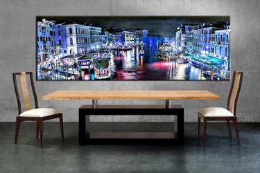 1 piece canvas wall art, city canvas print, blue city art, dining room canvas photography