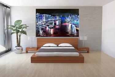 bedroom decor,1 piece canvas wall art, blue city canvas wall art, city canvas prints, city canvas photography