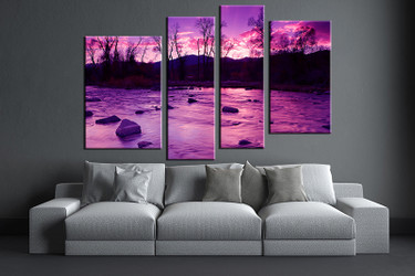 4 piece canvas wall art, living room huge canvas print, purple scenery photo canvas, scenery large pictures