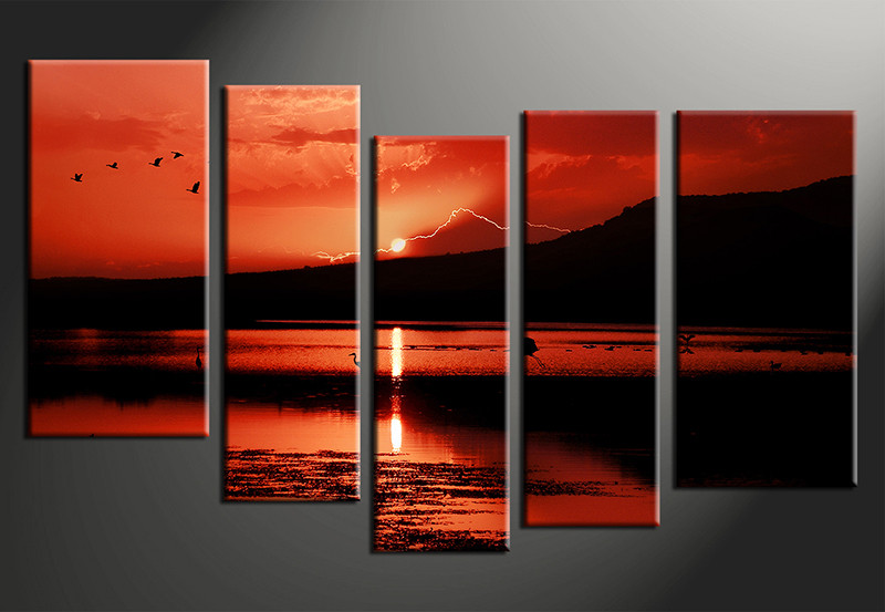 5 Piece Sunrise Landscape Red Group Canvas