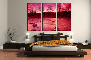 bedroom decor,3 piece canvas wall art, scenery multi panel canvas, scenery purple canvas prints, scenery canvas photography
