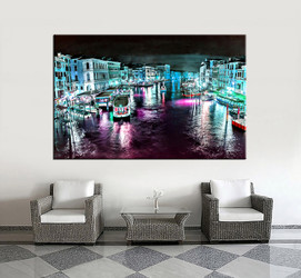 1 piece wall art, living room art, blue city multi panel art, city canvas print, city huge pictures