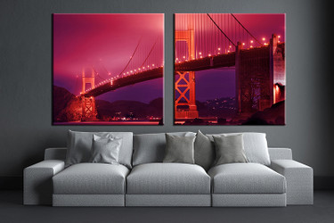 2 piece canvas wall art, bridge red city artwork, city wall art, city pictures, living room decor