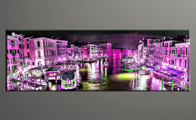 1 piece canvas photography, home decor art, city purple huge pictures, city wall decor