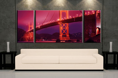living room wall art, 3 piece wall art, red city multi panel art, city large pictures, city bridge photo canvas