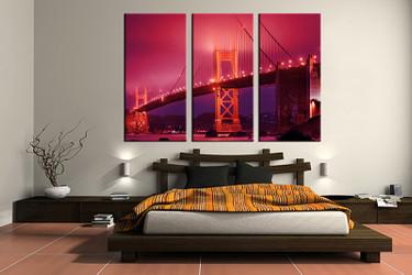 bedroom decor, 3 piece canvas wall art, bridge red city multi panel canvas, city canvas prints, city canvas photography