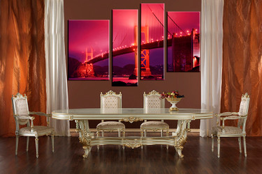4 piece multi panel canvas, dining room canvas photography, red city wall art, city artwork