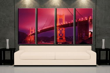 living room art, 4 piece canvas wall art, red city decor, city artwork, city large canvas
