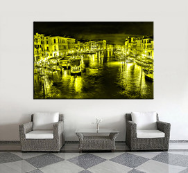 1 piece wall art, living room large canvas, yellow city huge pictures, city multi panel canvas