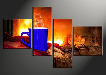 4 piece canvas print, home decor artwork, Kitchen photo canvas, Kitchen canvas photography