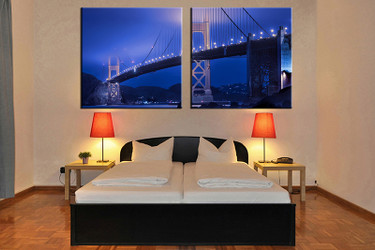 2 piece canvas wall art, bedroom art print, blue city large canvas, city multi panel canvas