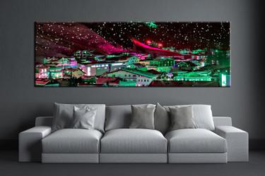living room art, 1 piece canvas wall art, colorful city decor, city artwork, city large canvas
