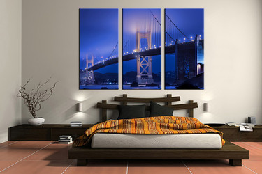 3 piece canvas wall art, bedroom art print, bridge city large canvas, city blue multi panel canvas