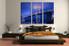 3 piece canvas wall art, bedroom art print, bridge city large canvas, city blue multi panel canvas