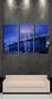 3 piece large pictures, living room multi panel art, blue city photo canvas, city bridge artwork