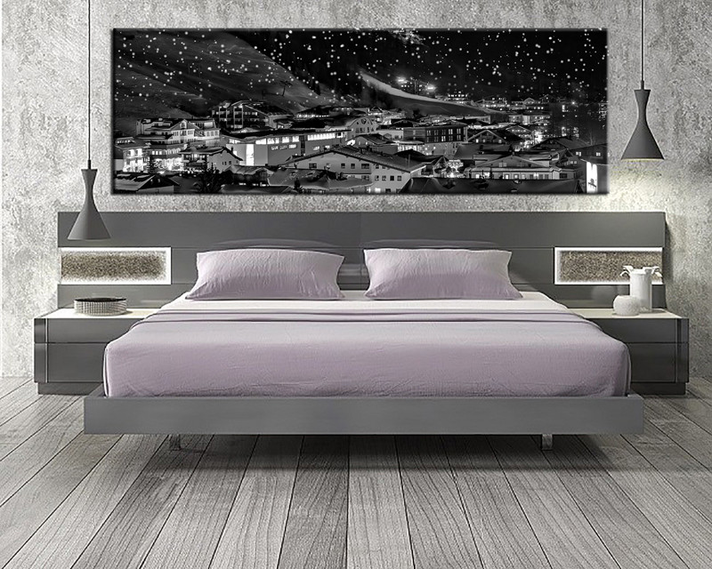 1 piece grey city canvas art print,cityscape wall art,panoramic canvas  prints