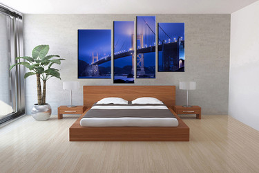 4 piece canvas wall art, bedroom city artwork, blue city pictures, city canvas print, bridge city artwork