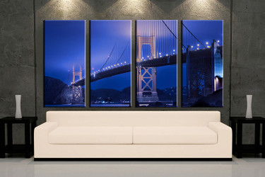 living room wall art,4 piece wall art, bridge city multi panel art, blue large pictures, city photo canvas